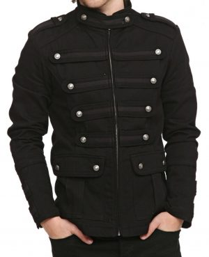 Gothic Military Band Black Jacket for Men Vintage Goth Coat Jacket STEAMPUNK (2)