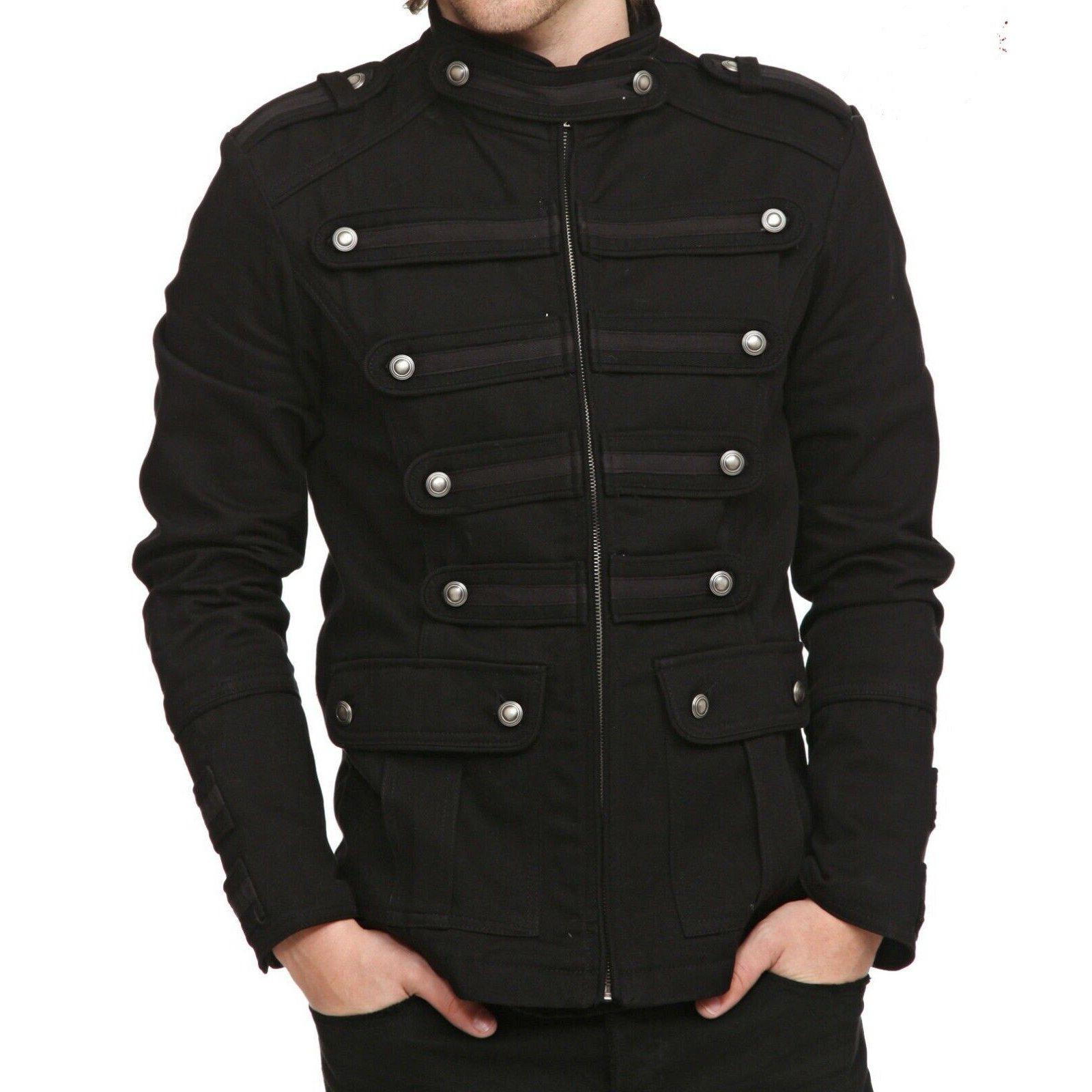 Gothic Military Band Black Jacket for Men Vintage Goth Coat Jacket STEAMPUNK (2)