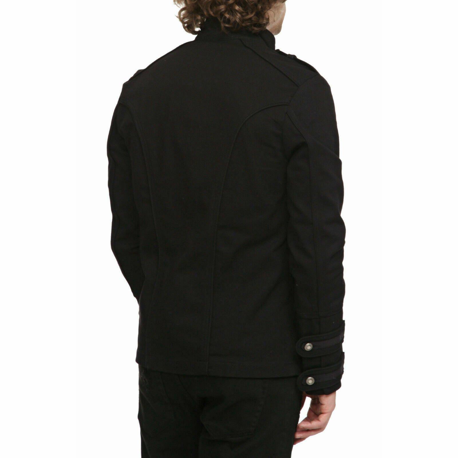 Gothic Military Band Black Jacket for Men Vintage Goth Coat Jacket STEAMPUNK (3)