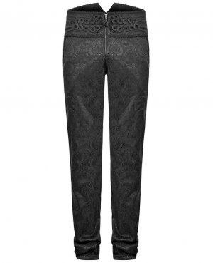Men's Apocrypha Trousers Pants Steampunk Black Brocade Vintage Gothic Victorian (3)