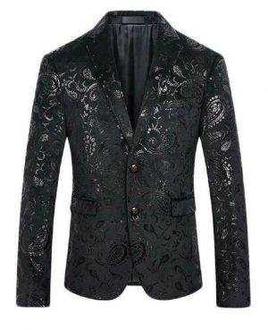 Mens Black Floral Brocade Print Fitted Blazer Designer Suit Jacket (1)