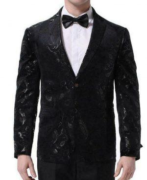 Mens Black Floral Brocade Print Fitted Blazer Designer Suit Jacket (2)
