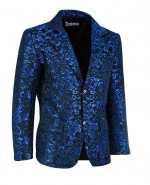Men's Blue Brocade Floral Suit Notched Lapel Slim Fit Stylish Blazer (2)