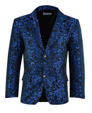 Men's Blue Brocade Floral Suit Notched Lapel Slim Fit Stylish Blazer (3)