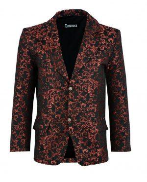 Men's Brocade Floral Suit Notched Lapel Slim Fit Stylish Blazer Dress Suit (1)