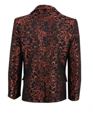 Men's Brocade Floral Suit Notched Lapel Slim Fit Stylish Blazer Dress Suit (2)