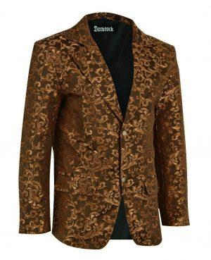 Men's Gold Brocade Floral Suit Notched Lapel Slim Fit Stylish Blazer Dress Suit (1)