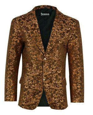 Men's Gold Brocade Floral Suit Notched Lapel Slim Fit Stylish Blazer Dress Suit (2)