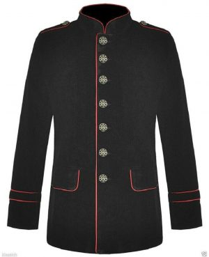 Men's Military Style Coat Jacket Black Red Gothic Steampunk (1)