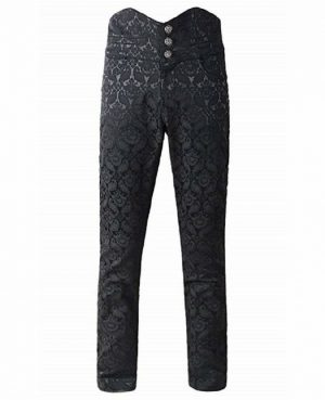 Men's Obscura Trousers Pants Steampunk Black Brocade Vintage Gothic Victorian (1)
