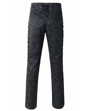 Men's Obscura Trousers Pants Steampunk Black Brocade Vintage Gothic Victorian (2)