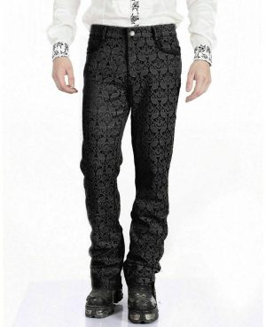 Men's Trousers Pants Black Brocade Steampunk VTG Vintage Gothic Victorian (1)