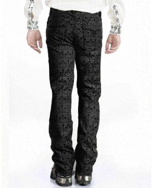 Men's Trousers Pants Black Brocade Steampunk VTG Vintage Gothic Victorian (2)