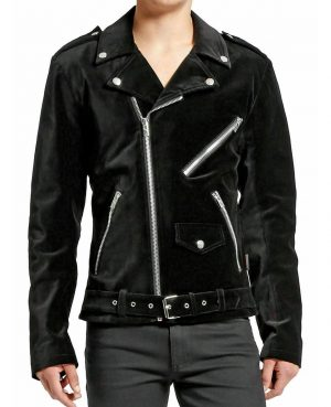DARKROCK Gothic Moto Black Velvet Motorcycle Jacket Punk Fetish EMO Biker Jacket (1)