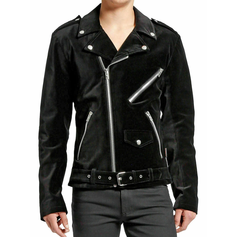 DARKROCK Gothic Moto Black Velvet Motorcycle Jacket Punk Fetish EMO Biker Jacket (1)