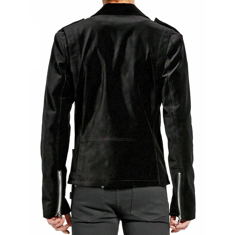 DARKROCK Gothic Moto Black Velvet Motorcycle Jacket Punk Fetish EMO Biker Jacket (2)