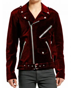 DARKROCK Gothic Motor Bike RED Velvet Motorcycle Jacket Punk Fetish EMO Biker Jacket (4)