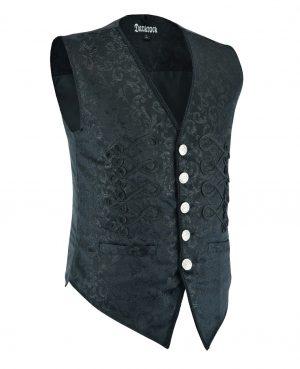 DARKROCK Men's Brocade Vest Waistcoat Black Damask Velvet Gothic Steampunk Renaissance (3)