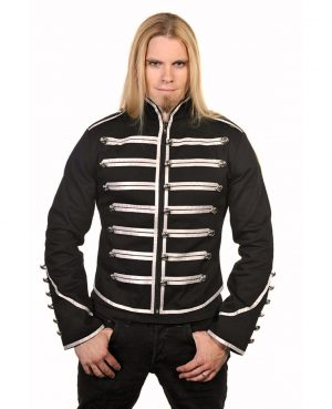 DARKROCK Military Drummer Jacket Black Parade Jacket Goth Punk Adam Ant VTG Style (1)