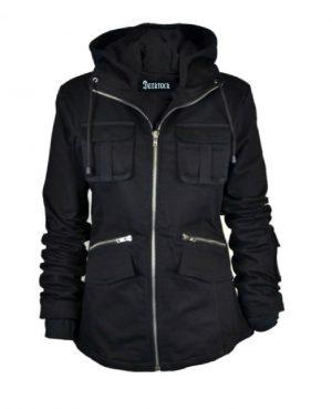 DarkRock PRIME Ladies Parka Jacket Women Cotton Casual Trench Coat WHood (1)