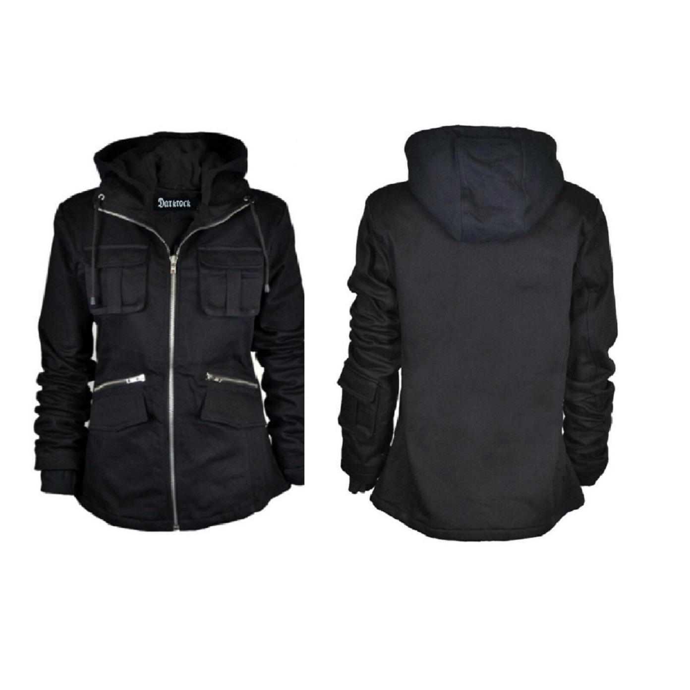 DarkRock PRIME Ladies Parka Jacket Women Cotton Casual Trench Coat WHood (3)