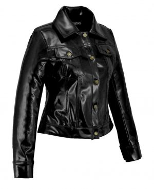 DarkRock Vinyl Trucker Jacket Black PVC Women's Shiny PVC Vinyl JacketUSA (2)