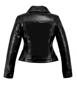 DarkRock Vinyl Trucker Jacket Black PVC Women's Shiny PVC Vinyl JacketUSA (3)