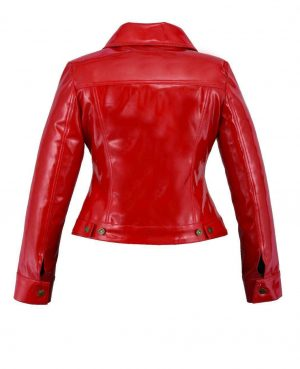 DarkRock Vinyl Trucker Jacket Red PVC Women's Shiny PVC Vinyl JacketUSA (2)