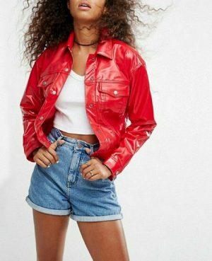 DarkRock Vinyl Trucker Jacket Red PVC Women's Shiny PVC Vinyl JacketUSA (3)