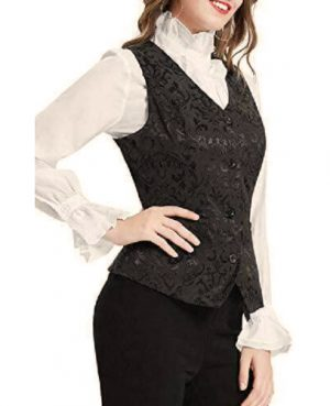 DarkRock Women's Black Brocade Waistcoat Vest Vintage Steampunk Dress Jacquard Jacket (3)