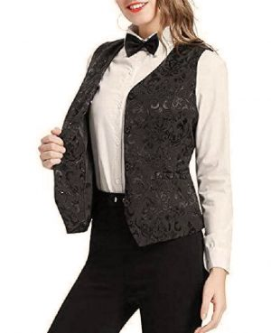 DarkRock Women's Black Brocade Waistcoat Vest Vintage Steampunk Dress Jacquard Jacket (4)