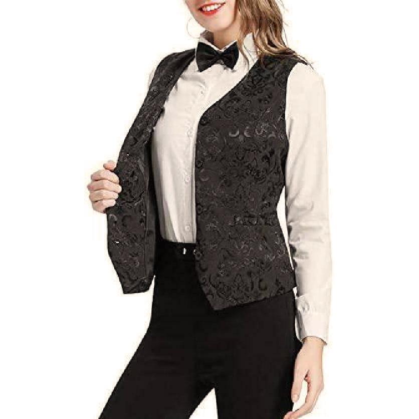 DarkRock Women's Black Brocade Waistcoat Vest Vintage Steampunk Dress Jacquard Jacket (4)