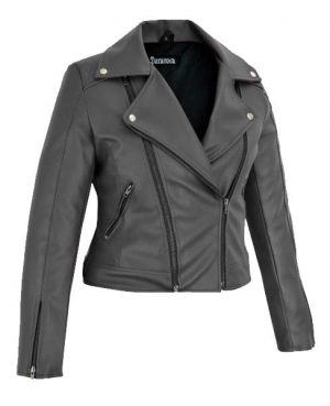 DarkRock Women's Black Slim Fit Biker Style Moto Faux Leather Jacket (2)