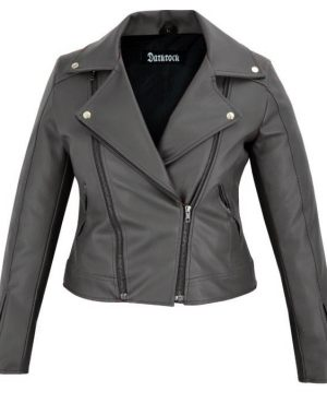 DarkRock Women's Black Slim Fit Biker Style Moto Faux Leather Jacket (3)