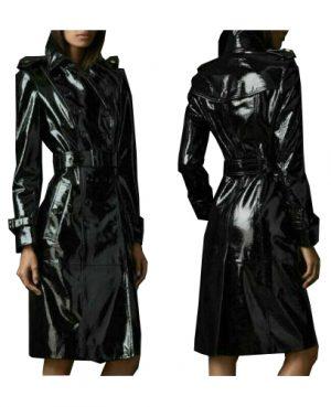 Darkrock Black PVC Vinyl Women's Trench Coat (2)