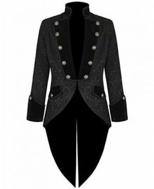 Darkrock Handmade Women's coat Jacket Black Brocade Goth Steampunk VictorianTailcoat (2)