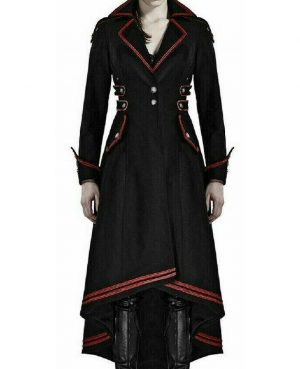 darkrock Womens Steampunk Military Coat Jacket Long Black Red Gothic Uniform (1)