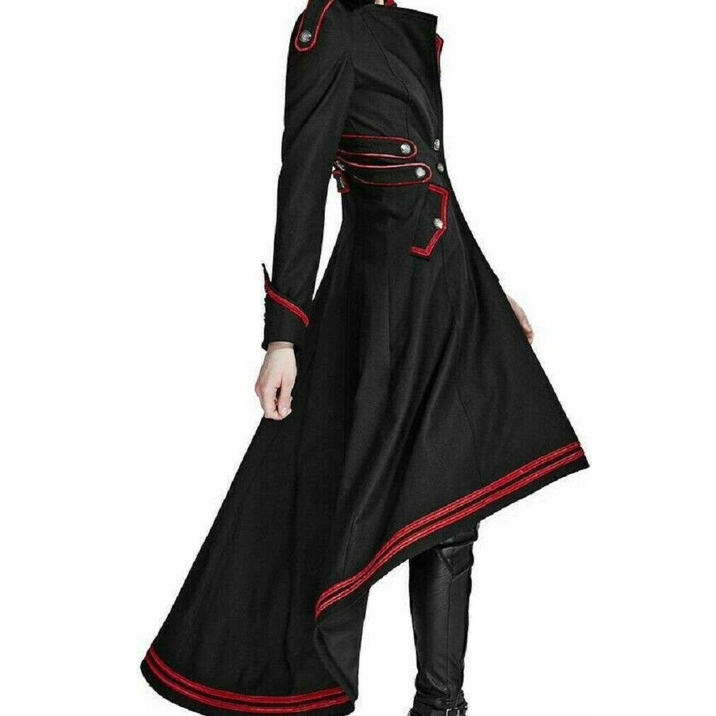 darkrock Womens Steampunk Military Coat Jacket Long Black Red Gothic Uniform (3)