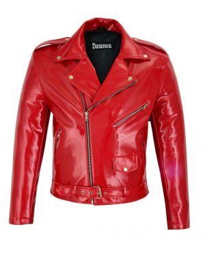 Gothic Moto Red Vinyl PVC Motorcycle Jacket Punk Fetish EMO Biker Jacket (1)