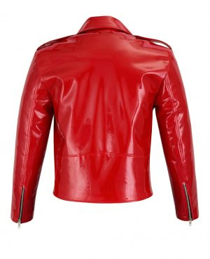 Gothic Moto Red Vinyl PVC Motorcycle Jacket Punk Fetish EMO Biker Jacket (2)