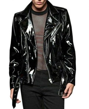 Gothic Moto Vinyl Black PVC Motorcycle Jacket Punk Fetish EMO Biker Jacket (1)