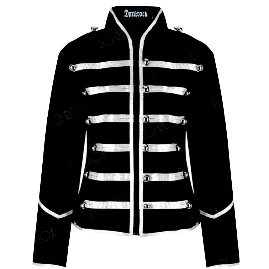 Prime Quality Handmade Women's Black Silver Parade Ladies Jacket Steampunk (1)