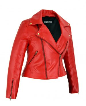 Prime Quality Women Red Slim Fit Biker Style Moto Faux Leather Jacket (1)