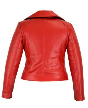 Prime Quality Women Red Slim Fit Biker Style Moto Faux Leather Jacket (3)