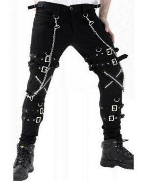 Women Gothic BONDAGE ROCK Black Punk Buckle Zips Chain Strap TrouserTRIPP PANTS (1)