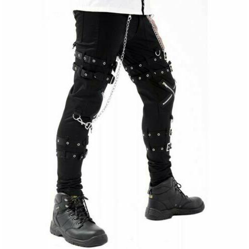 Women Gothic BONDAGE ROCK Black Punk Buckle Zips Chain Strap TrouserTRIPP PANTS (2)