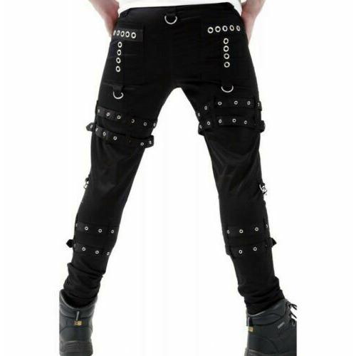 Women Gothic BONDAGE ROCK Black Punk Buckle Zips Chain Strap TrouserTRIPP PANTS (3)