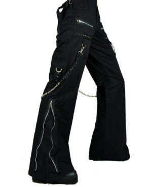 Women's CHAINS BLACK RHINESTONES GOTHIC PUNK EMO TRIPP PANTS STRAPS BAGGY PANTS (1)