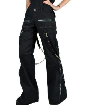 Women's CHAINS BLACK RHINESTONES GOTHIC PUNK EMO TRIPP PANTS STRAPS BAGGY PANTS (2)