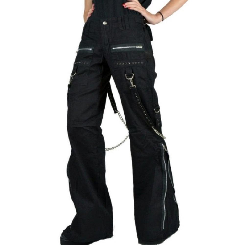 Women's CHAINS BLACK RHINESTONES GOTHIC PUNK EMO TRIPP PANTS STRAPS BAGGY PANTS (2)